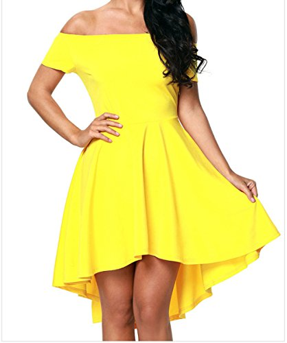 FQHOME Womens Yellow All The Rage Skater Dress Size (Plain Cherry Column)