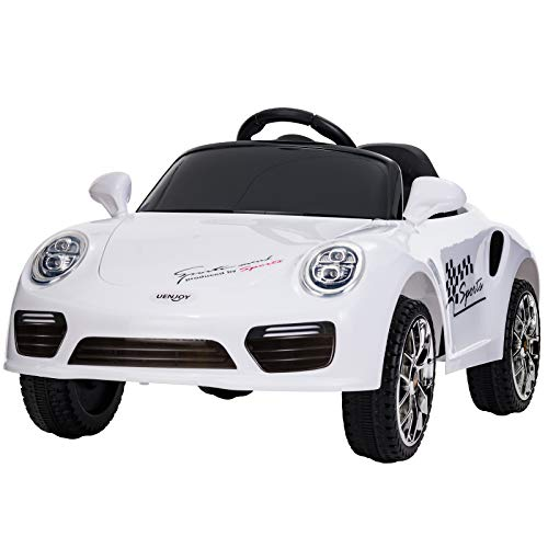 - Uenjoy Kids Ride on Cars 6v Battery Power Kids Electric Vehicles with Wheels Suspension,Music,Remote Control,Headlights and Horn,White