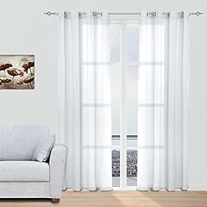 Juego Cortinas Translúcidas Visillos para Ventanas Habitaciones Dormitorios Salones Decoración Moderna para Hogar, 140x260cm con Ojetes, Blanco