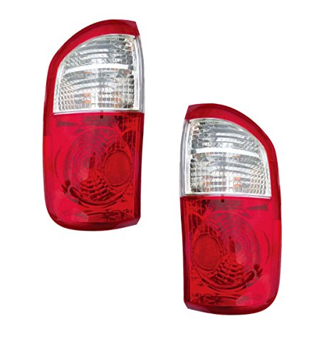 (2004-2005-2006 Toyota Tundra 4-Door Double Cab SR5 (Standard Bed CLEAR/RED Lens) Pickup Truck Taillight Taillamp Rear Brake Tail Light Lamp Pair Set Right Passenger AND Left Driver Side (04 05)