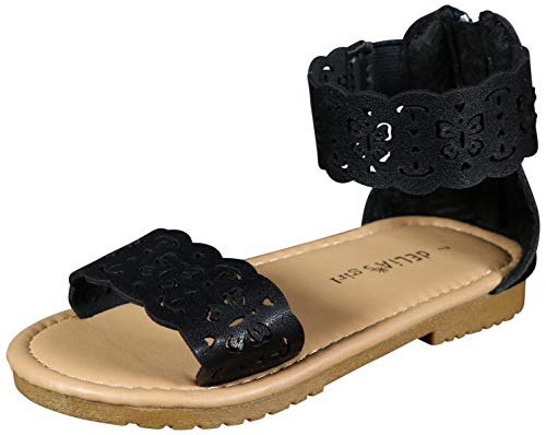 dELiA*s Girls Gladiator Style Sandals with Metallic Perforated Butterfly Details, Black, Size 1 M US Little Kid'