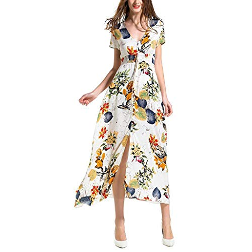 Toimothcn Womens Boho Party Maxi Dress Floral Print Button Up Split Flowy Beach Sundress(White,XXL)