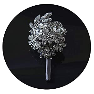 HuaHua-Store Wedding Grooms Brooch Boutonniere Ivory Rhinestone Wrist Corsage Groomsmen Buttonhole Prom Crystal Pin Accessories 105