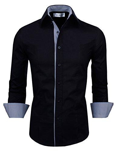 Tom's Ware Mens Casual Slim Fit Inner Striped Longsleeve Shirt