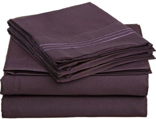 Microfiber Queen Purple Sheet Eggplant