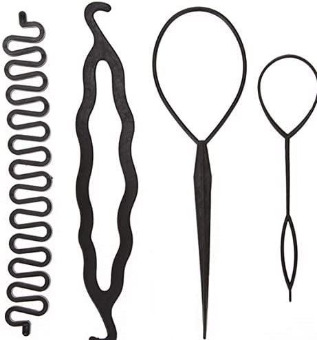Tivollyff 4本マジックヘアスティックスタイリングツールセットブレイダーヘアピンコームパンローラーメーカーヘアブレイディングカーラースタイリングアクセサリーツール