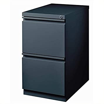 Pemberly Row 2 Drawer Mobile Metal File Cabinet in Charcoal
