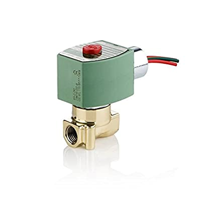 """ASCO 8262H202-120/60,110/50 Brass Body Direct Acting General Service Solenoid Valve, 1/4"""" Pipe Size, 2-Way Normally Closed, Nitrile Butylene Sealing, 5/32"""" Orifice, 0.52 Cv Flow, 120V/60 Hz, 110V/50 H by ASCO Valve Inc."""