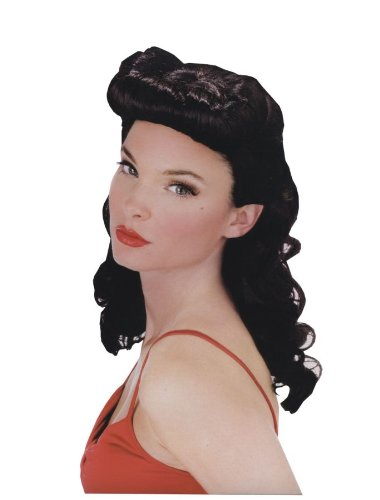 [Pin Up Babe Wig (Black)] (Sally Brown Costume)