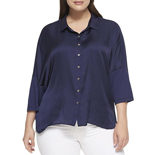 s Plus Button-Down Short Sleeve Blouse Navy 2X ()