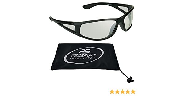 Cycling and All sports Activities Impact Resistant Polycarbonate Clear Lenses Fits Medium to Large Head Sizes Clear Lens Sunglasses with Side Shield for Motorcycle Riding Free Microfiber Cleaning Case included.