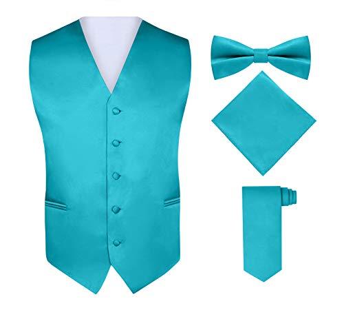 Men's 4 Piece Vest Set, With Bow Tie, Neck Tie & Pocket Hankie - Teal, S