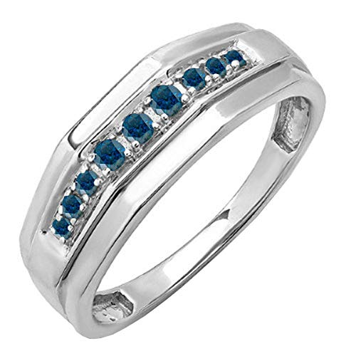 Dazzlingrock Collection 0.25 Carat (ctw) Sterling Silver Round Blue Real Diamond Mens Wedding Anniversary Band 1/4 CT, Size 11