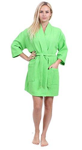 Turkuoise Women s Turkish Cotton Knee Length Lightweight Bridesmaids Waffle Kimono  Robe 235748292