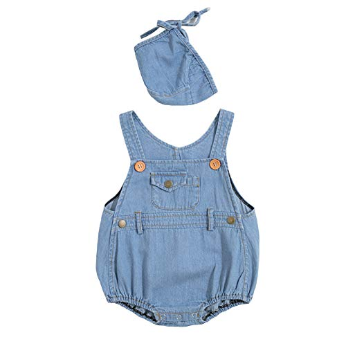 Dragon Honor Baby Girls Boys Denim Jeans Romper Jumpsuit Sleeveless Overalls Summer Sunsuit Outfits with Hat (90 (24M), Blue)
