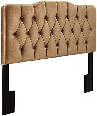Pemberly Row King Velvet Upholstered Headboard in Bronze
