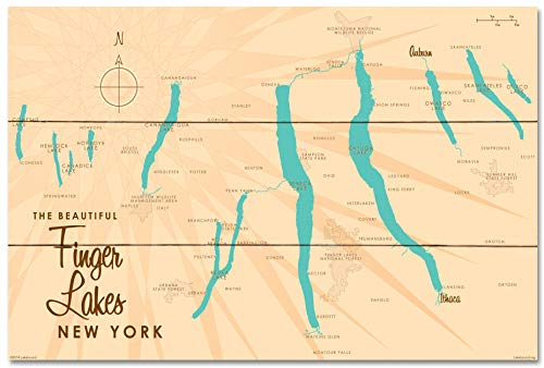 Finger Lakes New York Vintage-Style Map Wood Art Print by Lakebound (24