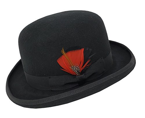Different Touch Men's 100% Wool Felt Derby Bowler with Removable Feather Fedora Hats (XL, Black)