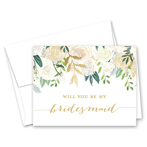White Gold Floral Will You be My Bridesmaid Card, Bridesmaid Proposal Card, Maid of Honor Card - Set of 10 ()