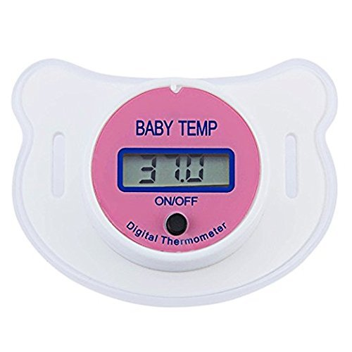 - Baby Thermometer Mouth,Baby Pacifier Thermometer Portable LCD Digital with Protective Storage Cover Safety Health Nipple (Pink)