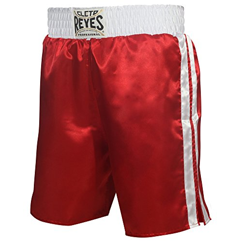 Cleto Reyes Satin Boxing Trunks, Red/White, Medium