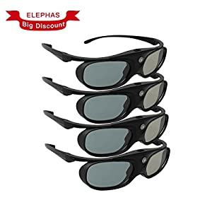 DLP Link 3D Glasses, ELEPHAS 144Hz Rechargeable Active Shutter Eyewear for Most DLP-Link 3D Projectors-- Acer, ViewSonic, BenQ Vivitek, Optoma, Panasonic, Dell, Viewsonic etc (4 Pack)