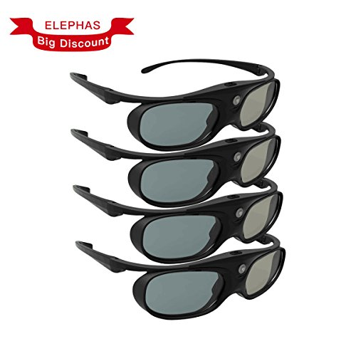 DLP Link 3D Glasses, ELEPHAS 144Hz Rechargeable Active Shutter Eyewear for Most DLP-Link 3D Projectors-- Acer, ViewSonic, BenQ Vivitek, Optoma, Panasonic, Dell, Viewsonic etc (4 Pack)