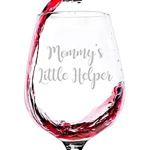 Mommy's Little Helper Funny Wine Glass - Best Birthday Gifts For Mom, Women - Unique Mothers Day Gift Idea From Husband, Son, Daughter - Fun Novelty Present For a New Mom, Wife, Friend, Sister, Her