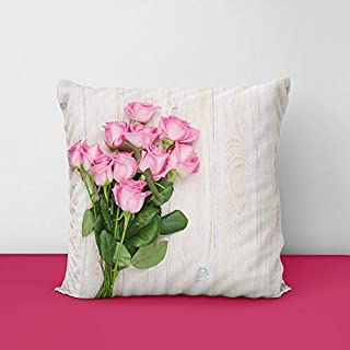 41MVYJaD7kL. SS320 Pink Rose Flower Square Design Printed Cushion Cover