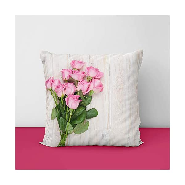 41MVYJaD7kL Pink Rose Flower Square Design Printed Cushion Cover