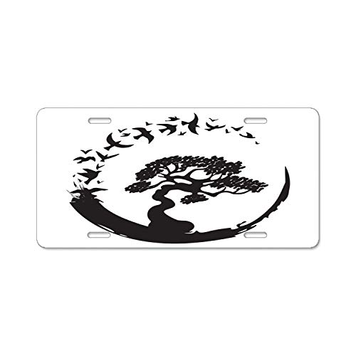 YEX Abstract License Plate Bonsai Tree Birds High Gloss Aluminum Novelty Car Licence Plate Covers Auto Tag Holder 12