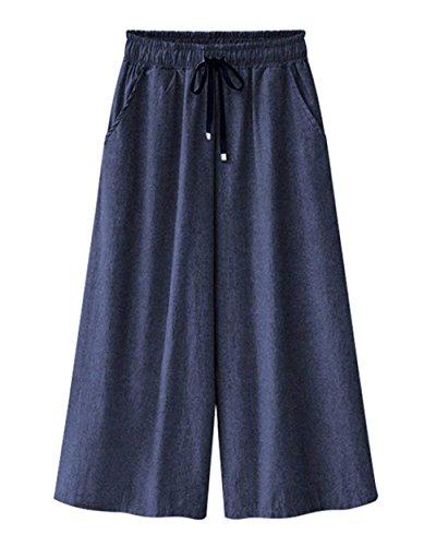 Mujer Pantalones Baggy Cintura Alta Anchas con Cordón Vaqueros Joven Bastante Color Sólido Hippie Talla Grande Pantalon Anchos Pantalones Verano Pantalones De Tiempo Libre Women Dunkelblau