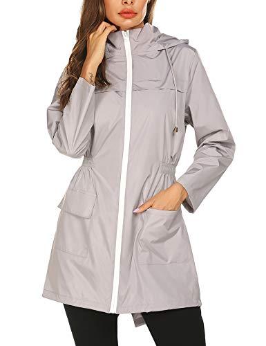 Doreyi Waterproof Coats for Women Rain Jackets Lightweight Packable Waterproof Long Trench Coats with Hood Travelling Coats Grey