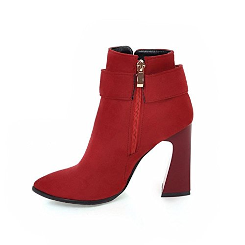 bout travail de hauts boucle ceinture bottes rouge hiver EUR44UK10 fête RED talons femmes rugueux en pointu à daim NVXIE noir courtes automne w7A0xXHPq