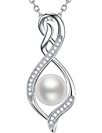 June Birthstone Pearl Necklace Infinity Love Pendant...