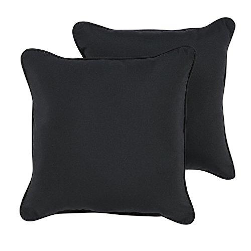 ella Indoor/ Outdoor 20-inch Corded Pillow, Black, Set of 2 ()
