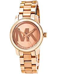 Michael Kors Womens Mini Runway Rose Gold-tone Stainless Steel Bracelet Watch 33mm Mk3334