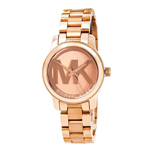 Michael Kors Women's Mini Runway Rose Gold-tone Stainless Steel Bracelet Watch 33mm Mk3334