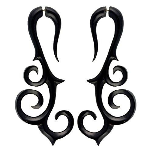 Fake Gauge Earrings Hand Carved Horn Trinity Curls