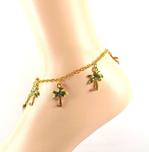 Seaside Mermaid Costumes (Golden Palm Tree Charm Anklet - Seaside Ankle Bracelet- Ocean Lovers Collection -Mermaids Choice)