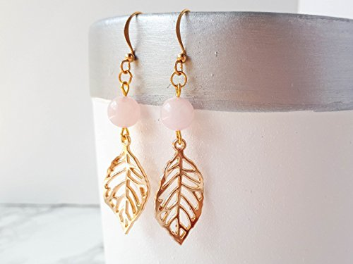 Rose Quartz Earrings with Gold - Earrings Quartz Rose Filigree