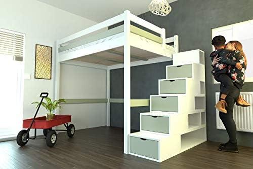 ABC MEUBLES - Cama Alta Sylvia con Escalera Cubo - Cube - Blanco/Moka, 140x200: Amazon.es: Hogar