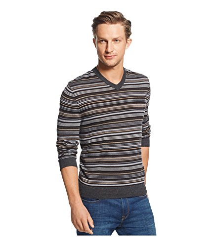 Club Room Mens Merino Wool Blend Striped Pullover Sweater Black (Striped Wool Pullover)