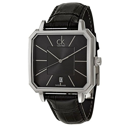 Calvin Klein Men's K1U21107 Concept Square Stainless Steel Watch with Black Leather Band