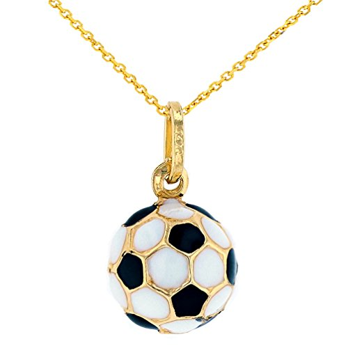 JewelryAmerica Fine 14k Gold Simple Soccer Ball Futbol Pendant Necklace, ()