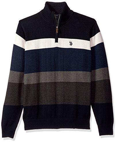 U.S. Polo Assn. Men's Striped 1/4 Zip Sweater, Navy, Small (1/4 Zip Striped Sweater)
