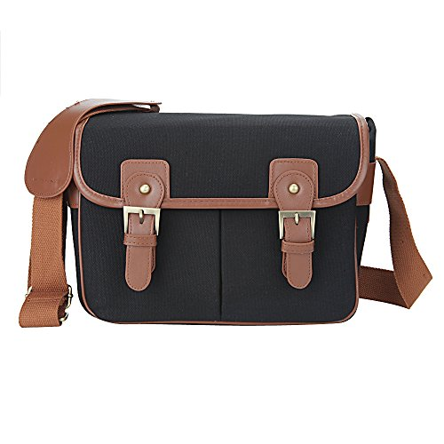 Sanlise Black Waterproof Vintage Canvas Camera Bag Messenger Bag for DSLR Camera and Lens Canon 5DII 7D Nikon D90 ()