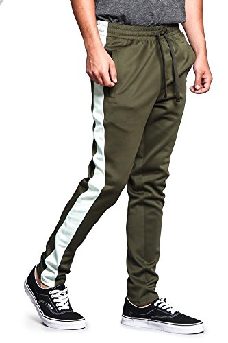 Victorious Men's Regular Cuff Non-Ankle Zip Contrast Outer Side Stripe Slim Fit Stretch Drawstring Track Pants TR522 - Olive/Off-White - Large - S1C ()
