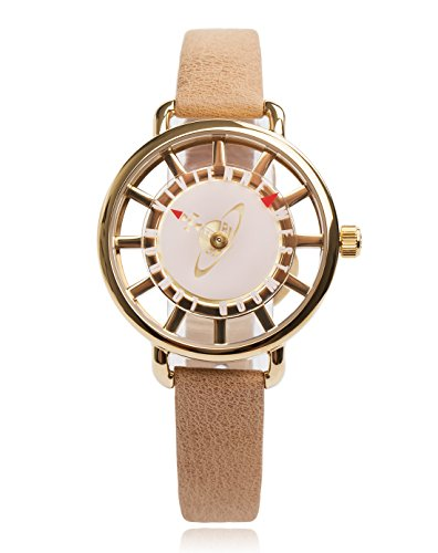 Vivienne Westwood Tate Women's Quartz Watch with Pink Dial Analogue Display and Beige Leather Strap VV055PKTN