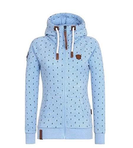 Winwinme La Mujer Ancla de la Cremallera de la Chaqueta con Capucha con Cordon Print Outwear Sky Blue 3XL
